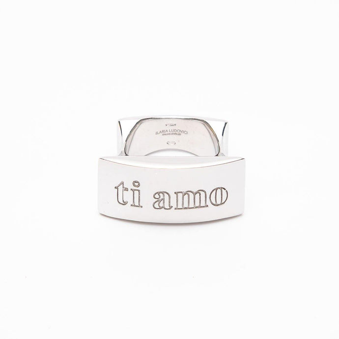 Ti Amo (front) and Ti Odio (back) Engraved 925 Sterling Silver Statement Ring