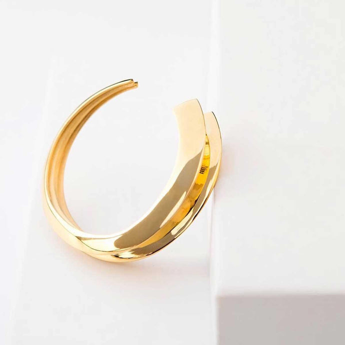 Handmade 18k gold plated narrow-to-wide cuff bracelet - Tanzire