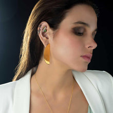 Load image into Gallery viewer, Model Wearing Handmade Gold Plated Semi Circle Statement Earrings with Formal White Outfit - Tanzire