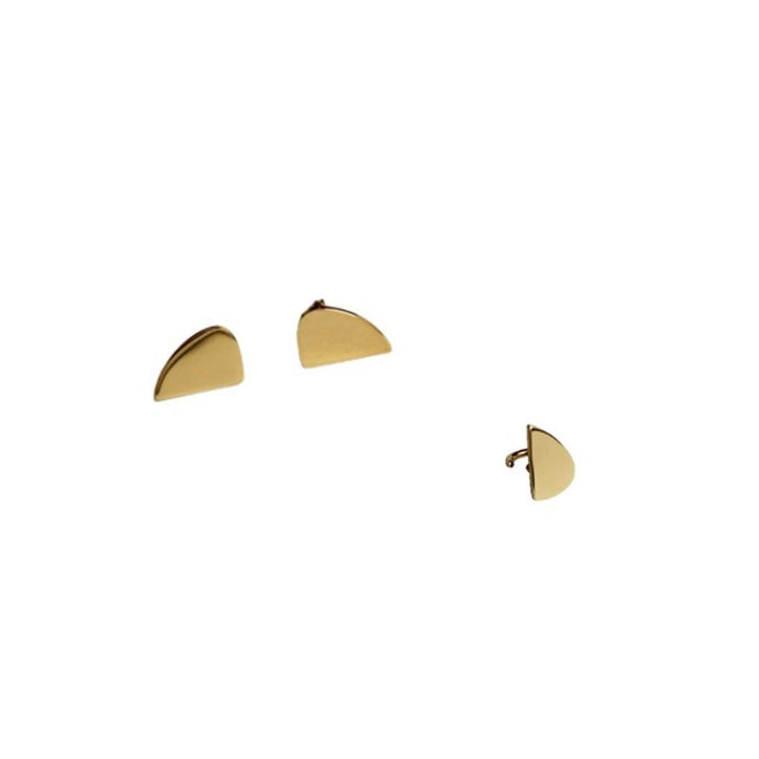 Handcrafted in Stainless Steel 18K Gold Plated Ear Studs along with a Ear Clip for Women
