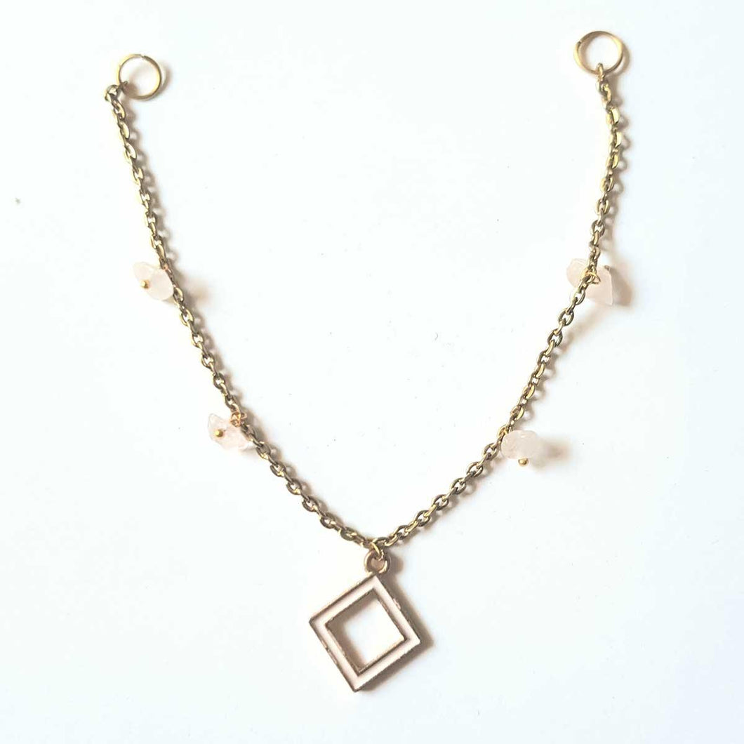 Charm Multi-Stone Rhombus Shaped Pendant Minimal Necklace for Women