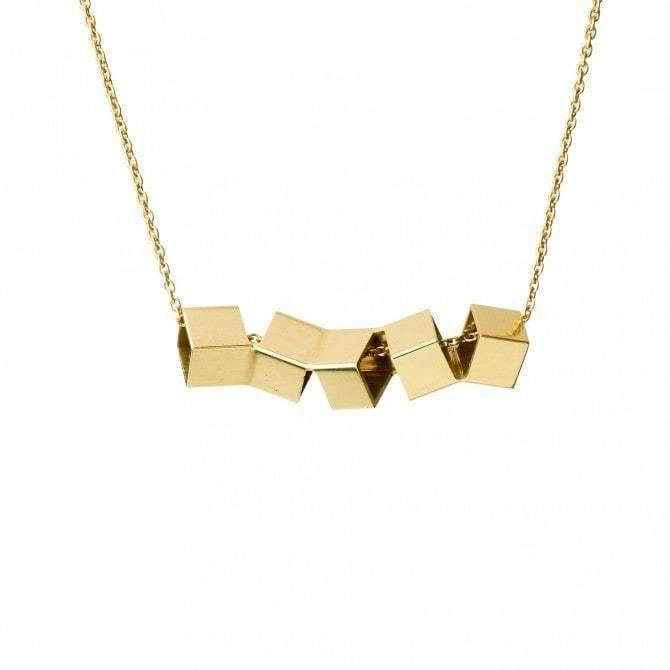 Brass Twisted Cube Necklace