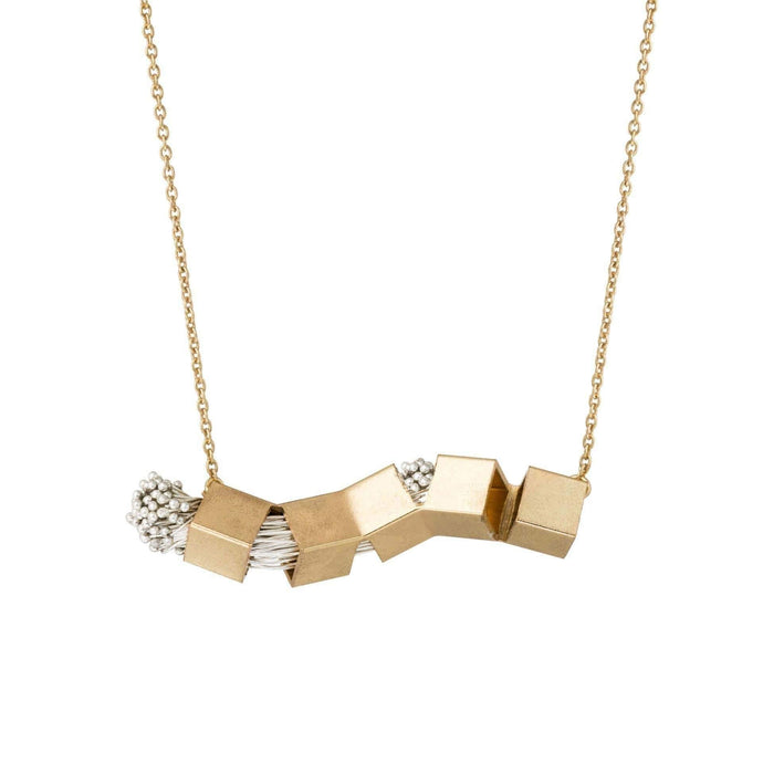Brass Twisted Cube Necklace with Metal Wires - Tanzire Store