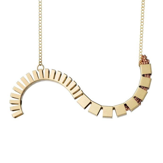 Inverted-S Cube Necklace in Brass - Tanzire Store
