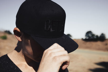 BLK on BLK Snapback Hat - Get Some