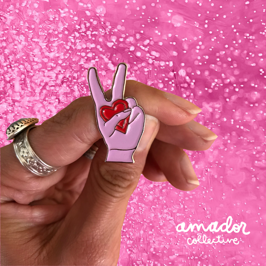Peace Love Amador Enamel Pin Pink