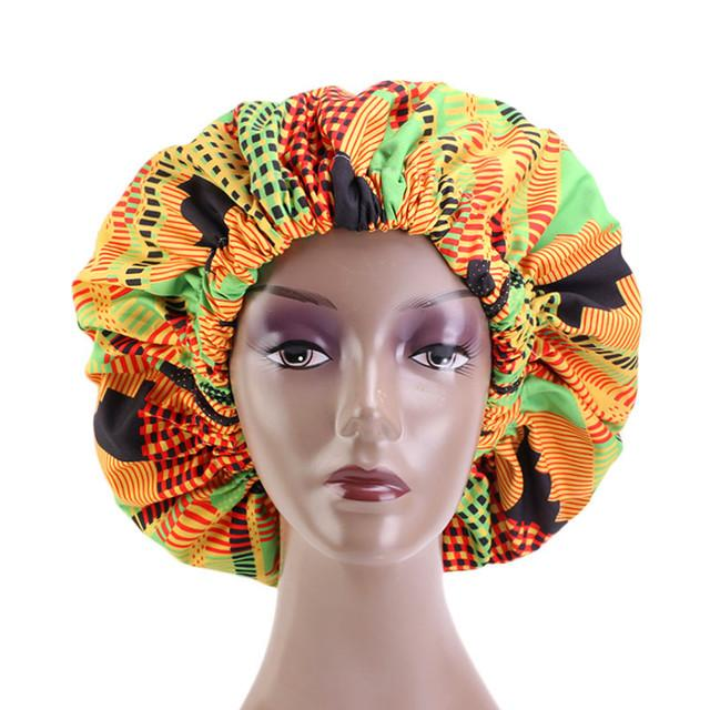 Ankara Satin Bonnett - Green