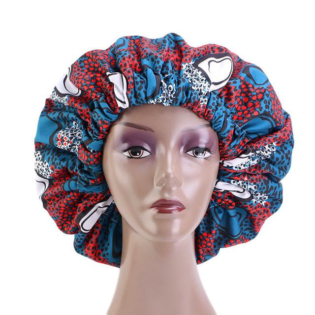 Ankara Satin Bonnett - Peacock Blue