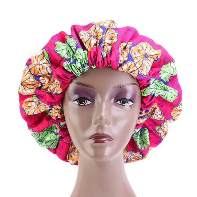 Ankara Satin Bonnett - Rose Red