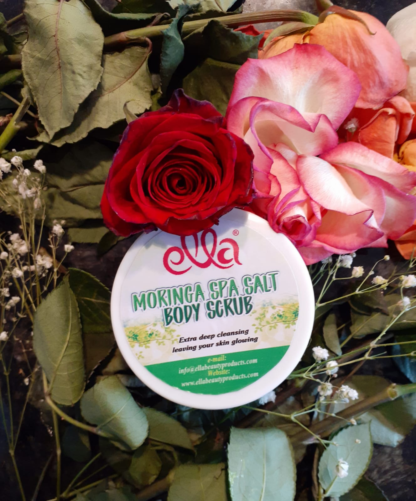 Ella Organic Beauty Products - Moringa Spa Salt Body Scrub
