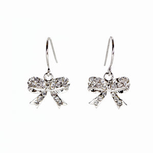 Rhinestone Crystal Ribbon Bow Earrings
