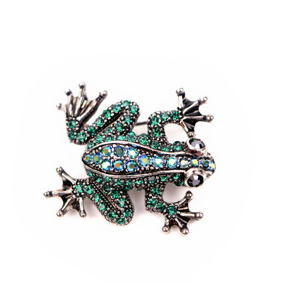 Crystal Frog Brooch Pin (Green)