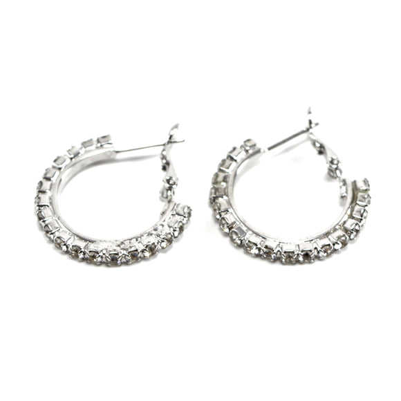 Rhinestone Crystal Hoop Earrings (24mm, Large)