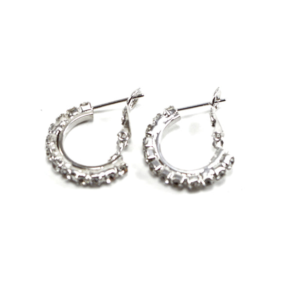 Rhinestone Crystal Hoop Earrings (18mm, Small)