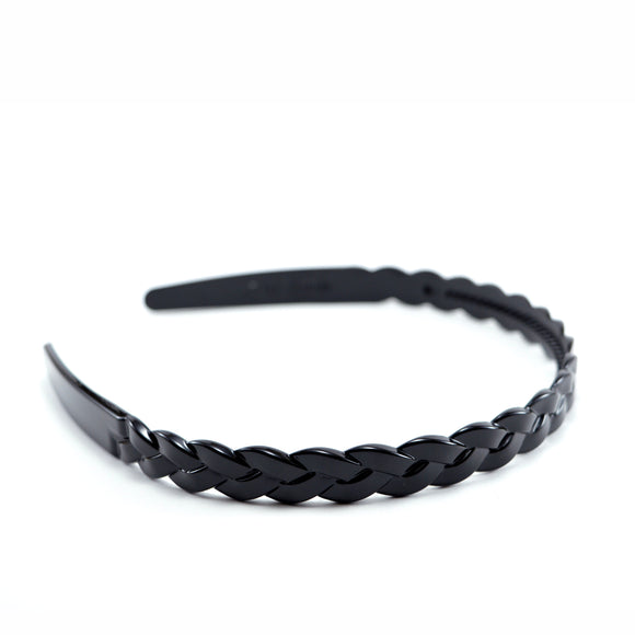 Glossy Black Slim Plastic Hoop Headband with Braid Motif