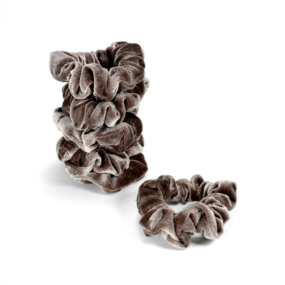 Five Small Velvet Scrunchies (Light brown)