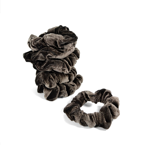 Five Small Velvet Scrunchies (Brown)