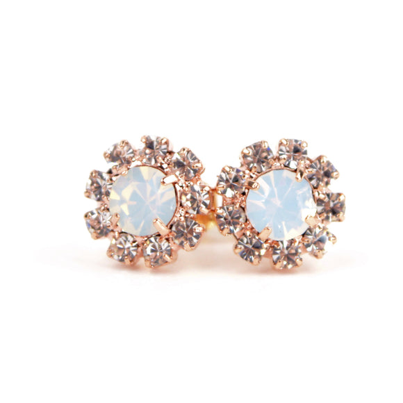 Octant Crystal Halo Stud Earrings (White)