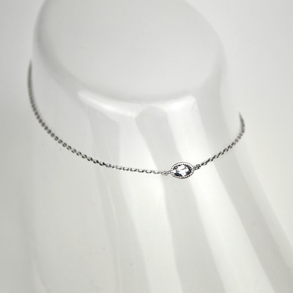 Oval Crystal Charm Chain Anklet
