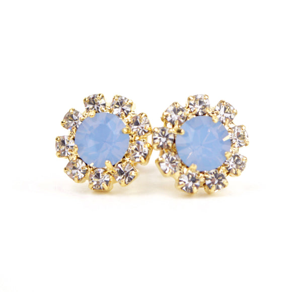 Octant Crystal Halo Stud Earrings (Blue)