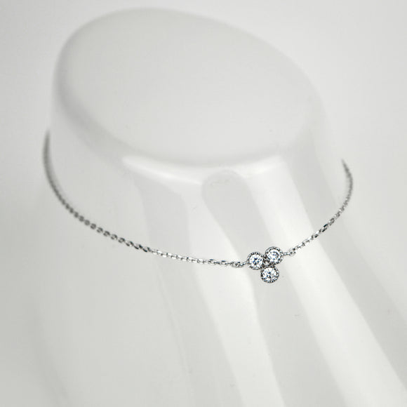 Crystal Clover Charm Chain Anklet