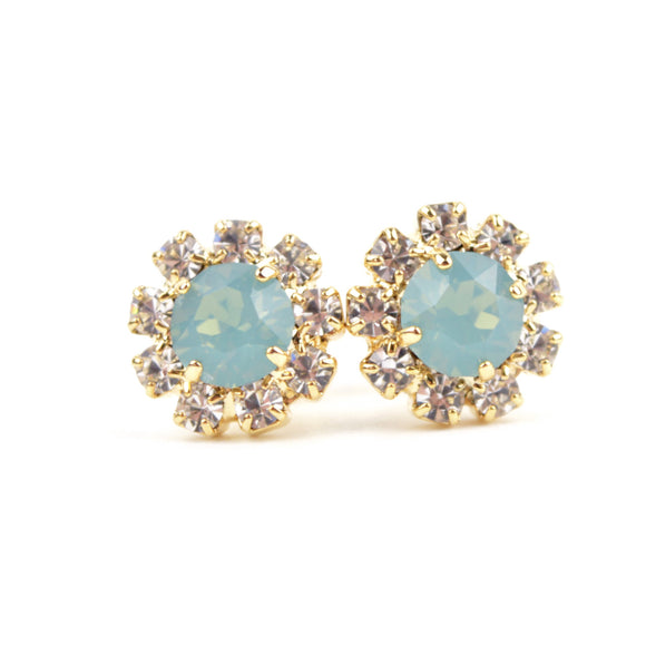 Octant Crystal Halo Stud Earrings (Mint)