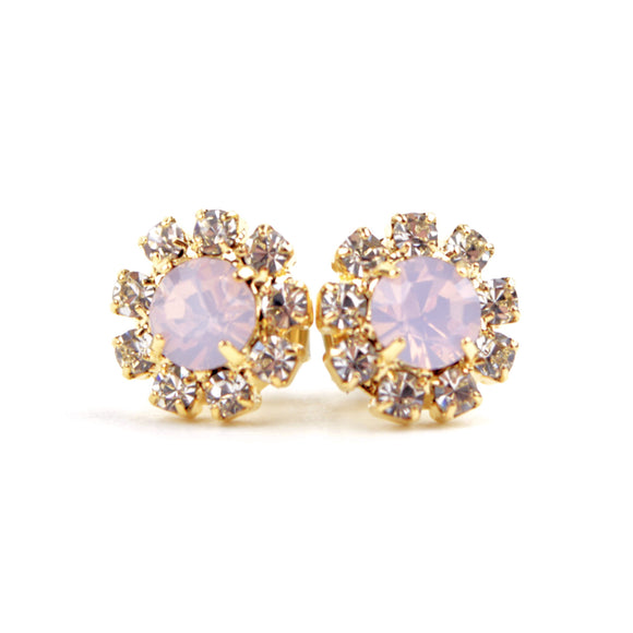 Octant Crystal Halo Stud Earrings (Pink)