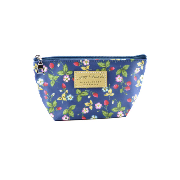Floral Blue Cosmetic Makeup Bag