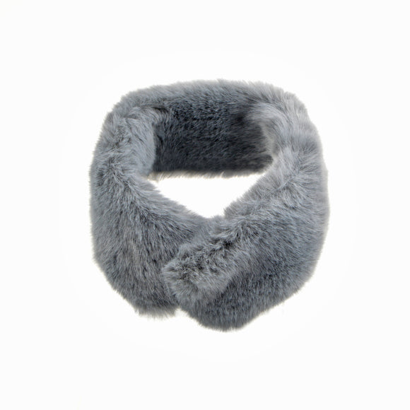 Mink Faux Fur Neck Wrap Styling Scarf (Grey)