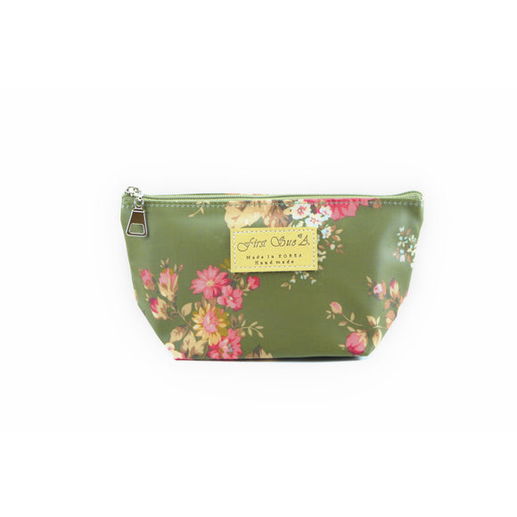 Floral Cosmetic Makeup Bag Green