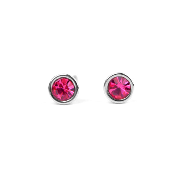 Crystal Stud Earrings (Pink)