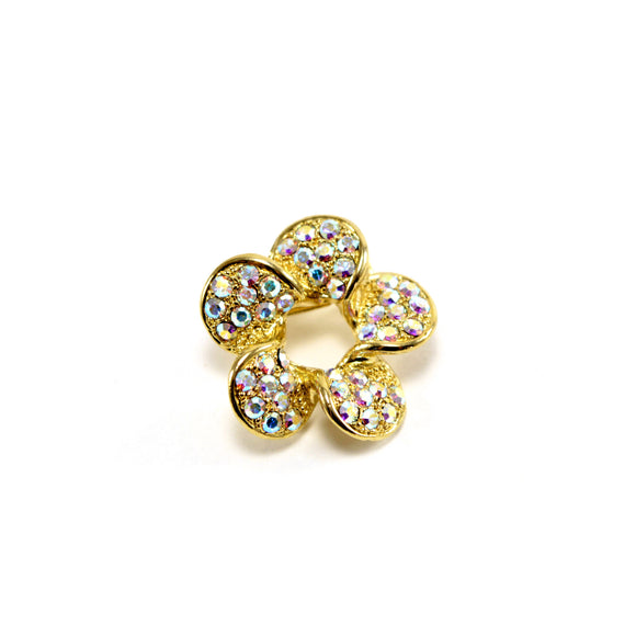 Crystal Flower Spiral Brooch Pin (Gold)