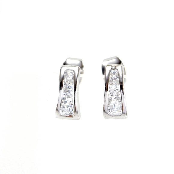 Cubic Zirconia Curved Stud Earrings