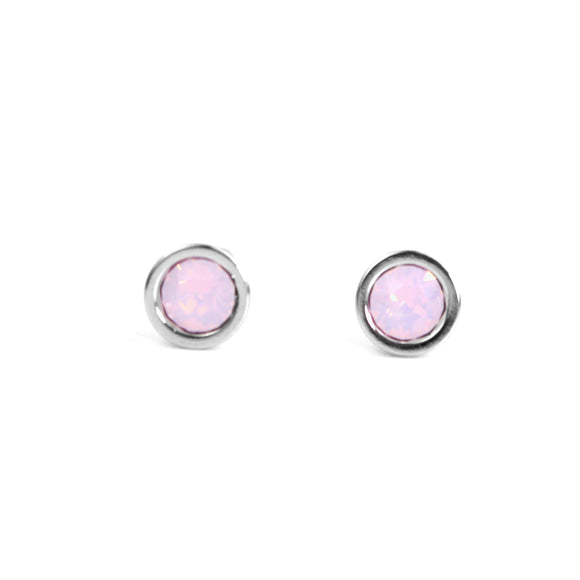 Crystal Stud Earrings (Milky Rose)