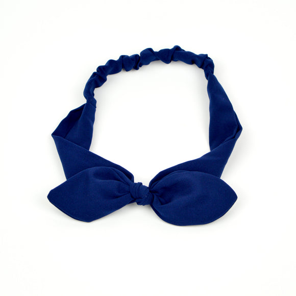 Blue Chiffon Fabric Bow Headband