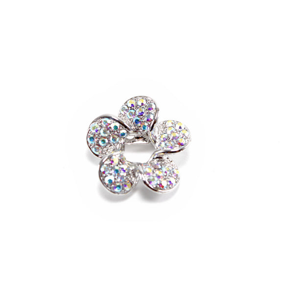 Crystal Flower Spiral Brooch Pin (Silver)