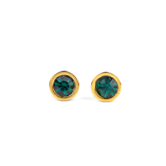 Crystal Stud Earrings (Green)