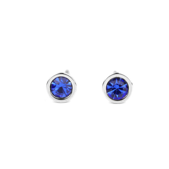 Crystal Stud Earrings (Blue)