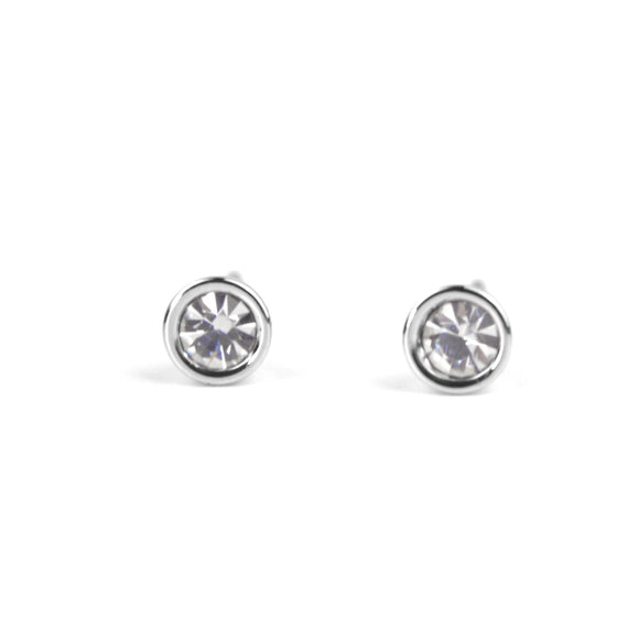 Crystal Stud Earrings (White)