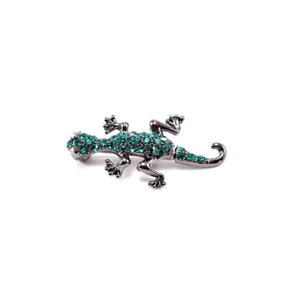 Shaking Lizard Rhinestone Brooch Pin (Green)