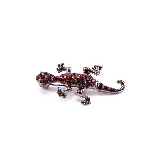 Shaking Lizard Rhinestone Brooch Pin (Red)