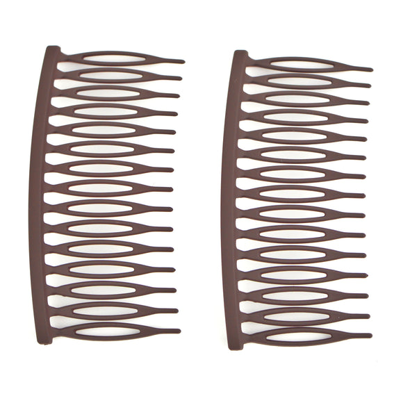Matte Plastic Hair Comb (Brown)(2-Pack)