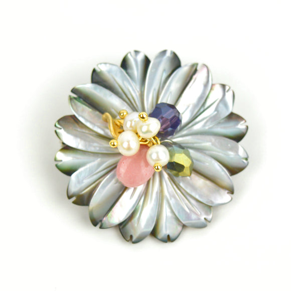 Natural Shell Flower Brooch Pin (Blue)