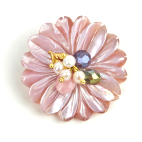 Natural Shell Flower Brooch Pin (Pink)