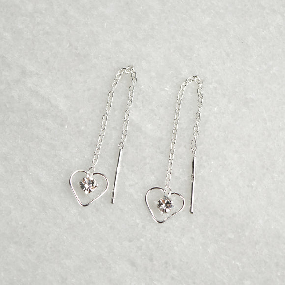 Sterling Silver Crystal Heart Threader Earrings