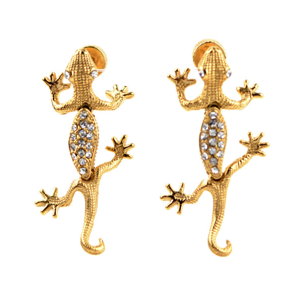 316L Surgical Steel Lizard Screwback Earrings (Gold)
