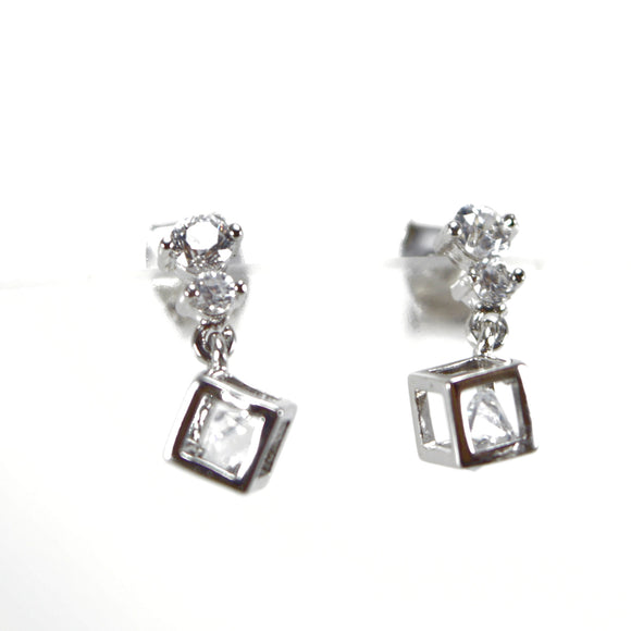 Cube Drop Dangle Cubic Zirconia Stud Earrings