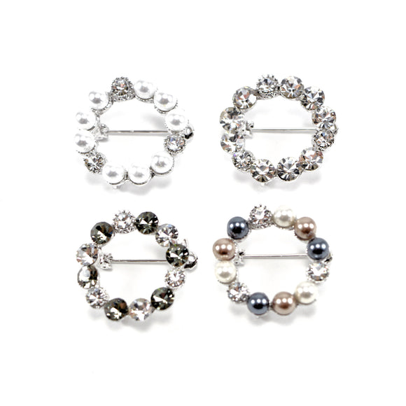 Pearl and Diamante Wreath Brooch Pins (4 designs)