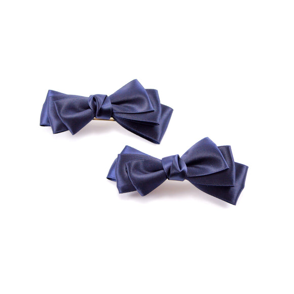 Blue Satin Ribbon Bow Hair Clip