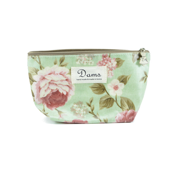 Cosmetic makeup case with floral green print